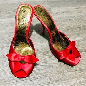 Sam Edelman Red Peep Toe With Bows Size 7.5